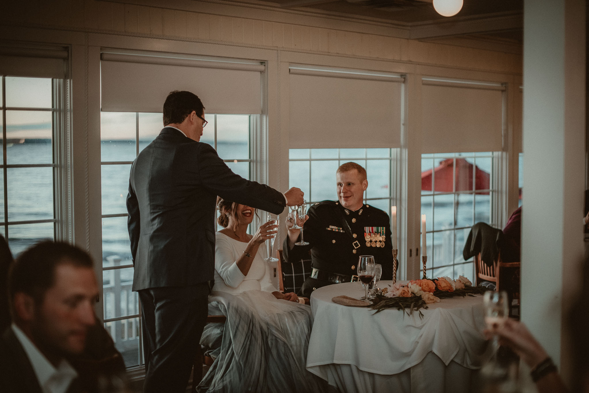Best man toasting the couple after he gave a heart warming speech.
