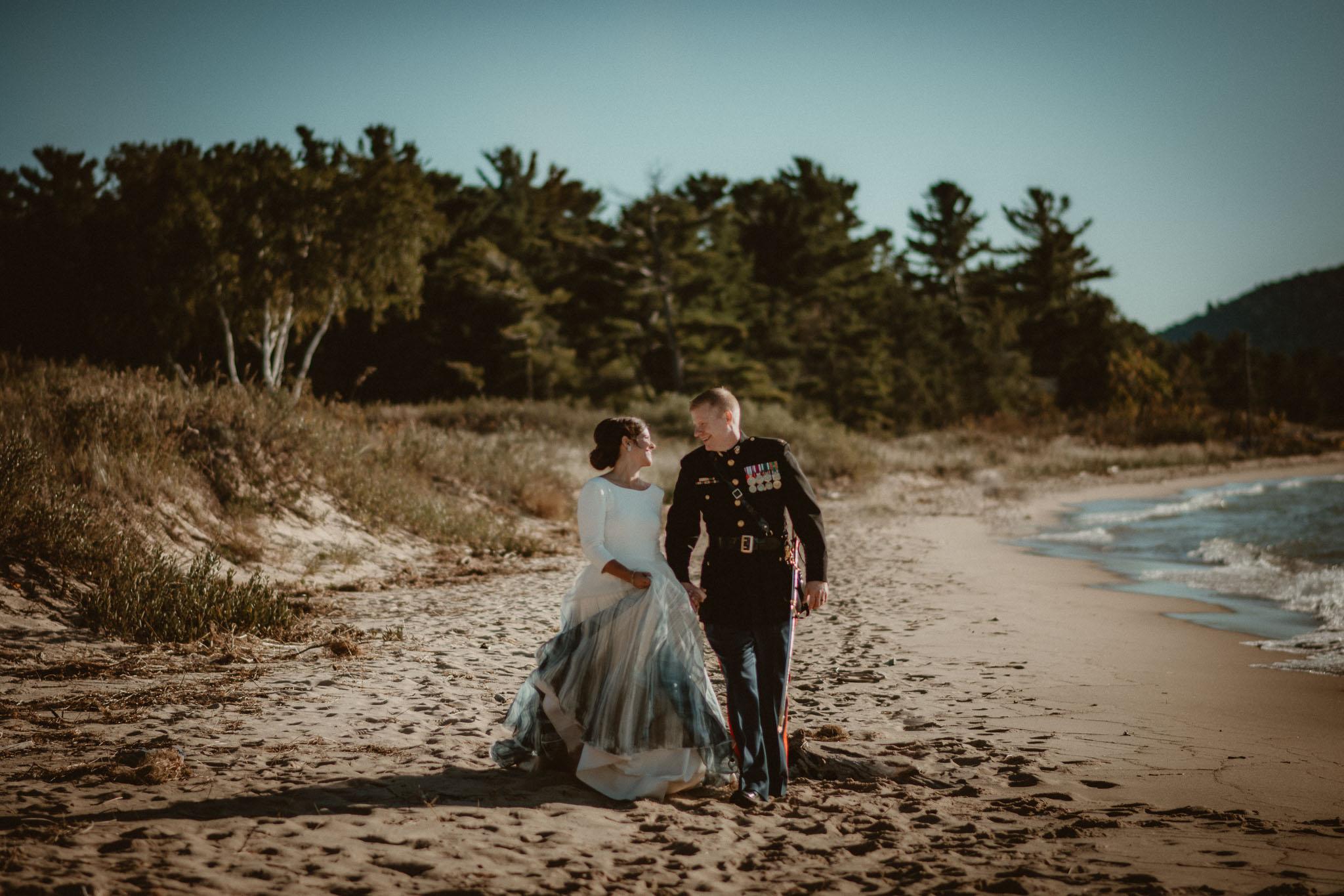 Bride and Groom walking Lake Michigan Glen Arbor